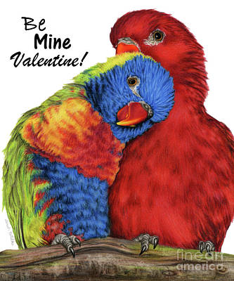 Lovebird Painting - Be Mine Valentine by Sarah Batalka