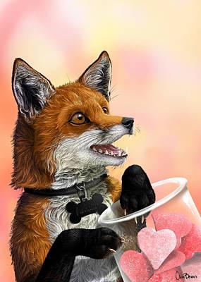 Fox Digital Art - Be My Valentine by Cara Bevan