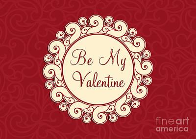 Digital Art - Be My Valentine Swirl by JH Designs