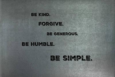 Be Simple Art Print