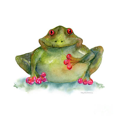 Watercolor. Frogs Painting - Be Still My Heart by Amy Kirkpatrick