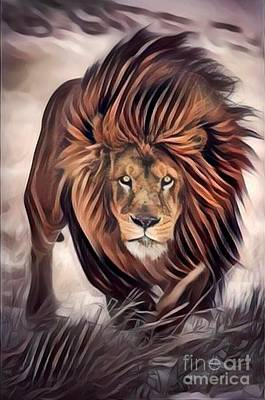 Trembling Digital Art - Be The Lion  by Scott D Van Osdol