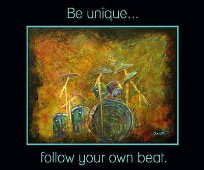 Abstract Drum Painting - Be Unique...follow Your Own Beat by The Art With A Heart By Charlotte Phillips