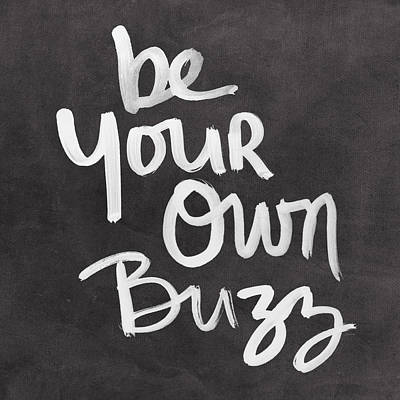 Black And White Mixed Media - Be Your Own Buzz Black White- Art By Linda Woods by Linda Woods