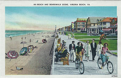 Digital Art - Beach And Boardwalk Vintage Virginia Beach by Melissa Messick