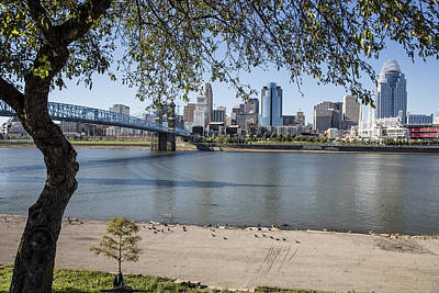 Photograph - Beach And Cincinnati Skyline In Color  by John McGraw