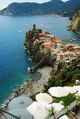 Italian Riviera Photograph - Beach And Harbor - Vernazza Italy - Italian Riviera by Just Eclectic