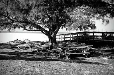 Photograph - Beach And Lounge Chairs In Black And White  by Aimee L Maher Photography and Art Visit ALMGallerydotcom