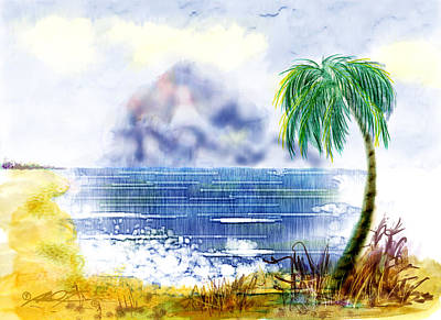 Beach And Palm Tree Of D.r.  Art Print