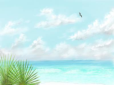 Art Print featuring the digital art Beach And Palms by Darren Cannell