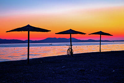 Photograph - Beach And Parasols On Colorful Sunset View by Brch Photography