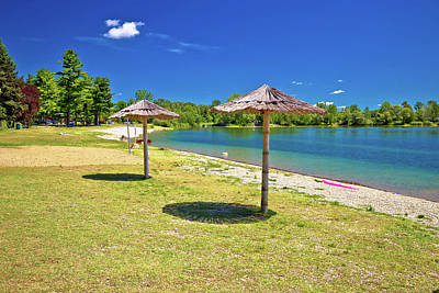 Photograph - Beach And Parasols On Soderica Lake by Brch Photography