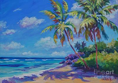 Caribbean House Painting - Beach And Rocks Near Sand Cay by John Clark