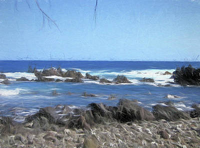 Photograph - Beach And Rocks Photo Sketch by Mary Bedy