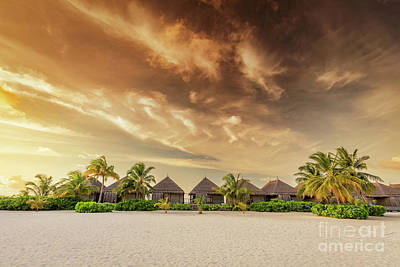 Luxury Photograph - Beach And Villas On An Island In Maldives At Sunset by Michal Bednarek
