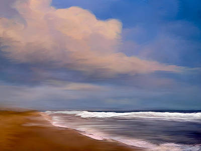 Ocean Digital Art - Beach And Whitecaps by Anthony Fishburne
