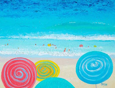 Cabin Wall Painting - Beach Art - Lollipop Umbrellas by Jan Matson
