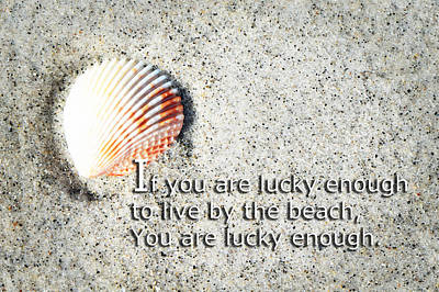 Coastal Quote Wall Art - Painting - Beach Art - Lucky Enough - Sharon Cummings by Sharon Cummings