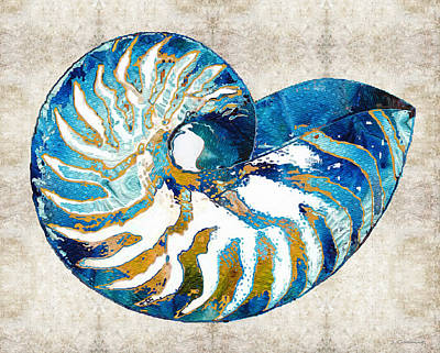 Painting - Beach Art - Nautilus Shell Bleu - Sharon Cummings by Sharon Cummings