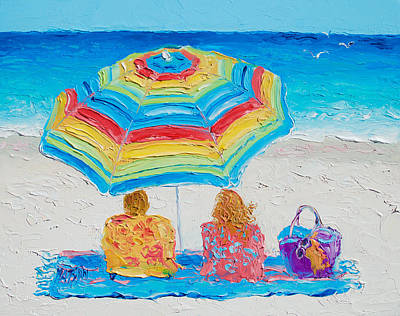 Deck-chairs Painting - Beach Art - Perfect Day by Jan Matson