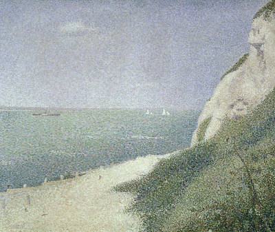 Pointillist Painting - Beach At Bas Butin by Georges Pierre Seurat
