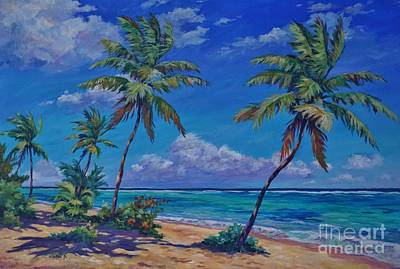 Caribbean Sea Painting - Beach At Bodden Town by John Clark