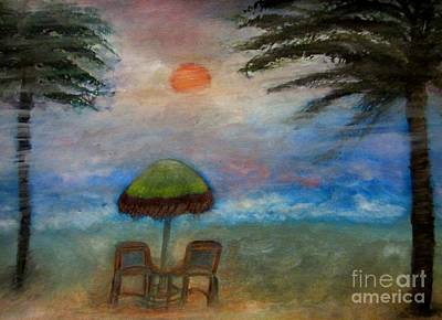Abstract Landscape Painting - Beach At Dusk by Stephanie Zelaya