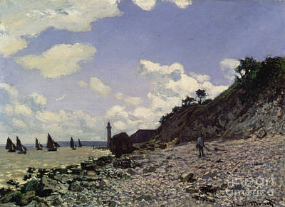 Beach At Honfleur Art Print by Claude Monet