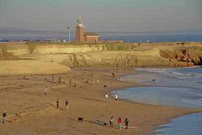 Beach At Lighthouse Pt S Cruz Ca Original by Liz Santie