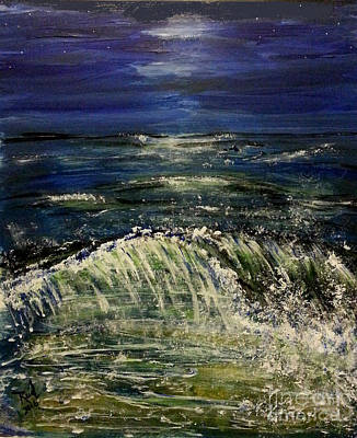 Painting - Beach At Night by Reed Novotny