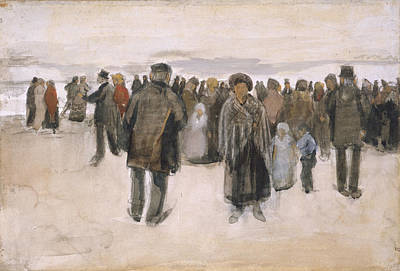 Shoreline Old Men Painting - Beach At Scheveningen 1882 by Vincent Van Gogh