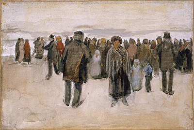 Drawing - Beach At Scheveningen, People Strolling On The Beach by Vincent van Gogh