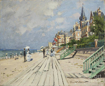 Bucking Bronco Painting - Beach At Trouville by Celestial Images