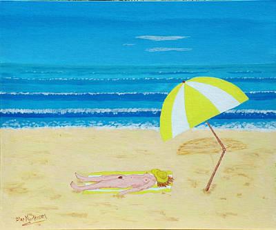 Beach Babe With All She Needs Art Print by Alex Mortensen