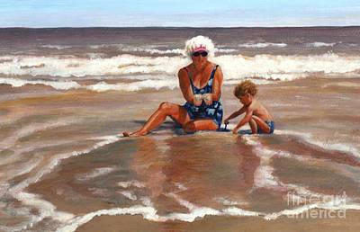 Art Print featuring the painting Beach Babes by Pat Burns