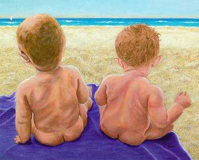 Beach Babies Art Print by Susan DeLain