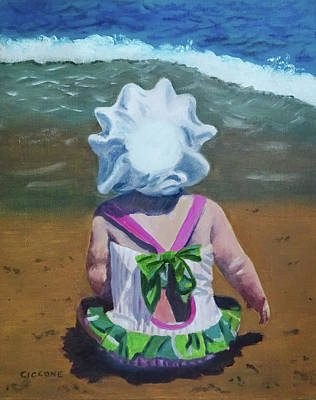 Painting - Beach Baby In Bonnet by Jill Ciccone Pike