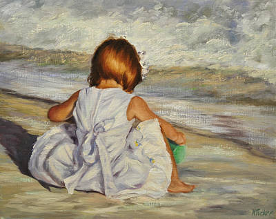 Little Girl On Beach Painting - Beach Baby by Katherine Tucker