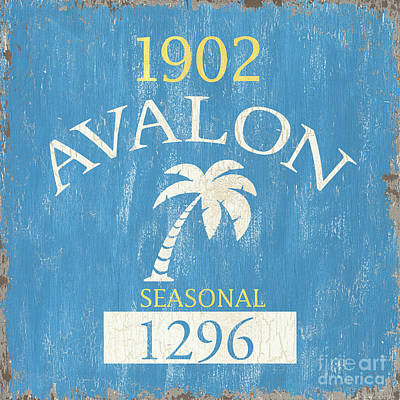 Swim Painting - Beach Badge Avalon by Debbie DeWitt