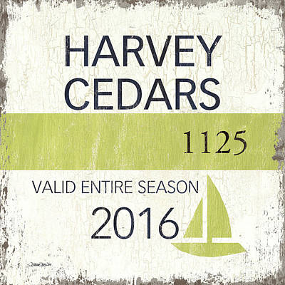 Beach Badge Harvey Cedars Print by Debbie DeWitt