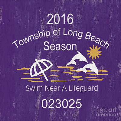 Beach Badge Long Beach Print by Debbie DeWitt