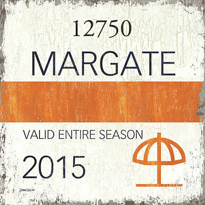 Beach Badge Margate Print by Debbie DeWitt