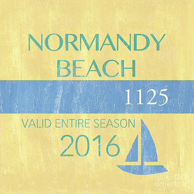 Beach Badge Normandy Beach 2 Print by Debbie DeWitt
