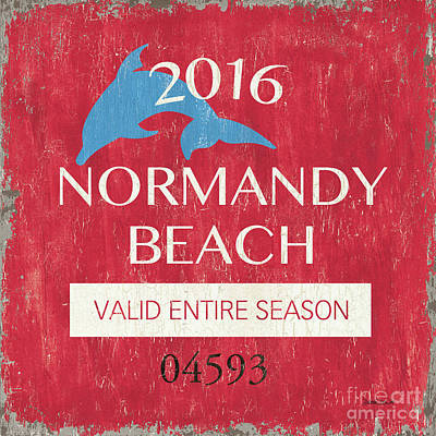 Beach Badge Normandy Beach Print by Debbie DeWitt
