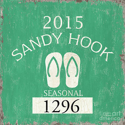 Beach Badge Sandy Hook Print by Debbie DeWitt