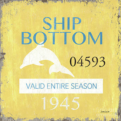 Beach Badge Ship Bottom Print by Debbie DeWitt