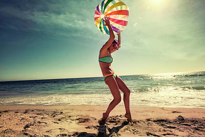 Photograph - Beach Ball And Girl by Amyn Nasser