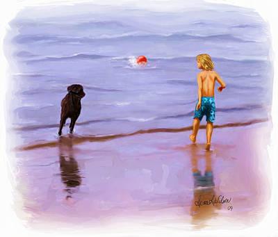Art Print featuring the painting Beach Ball Race by Sena Wilson