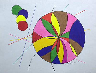 Drawing - Beach Ball Time by J R Seymour