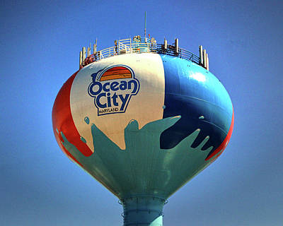 Photograph - Beach Ball Water Tower In Ocean City by Bill Swartwout